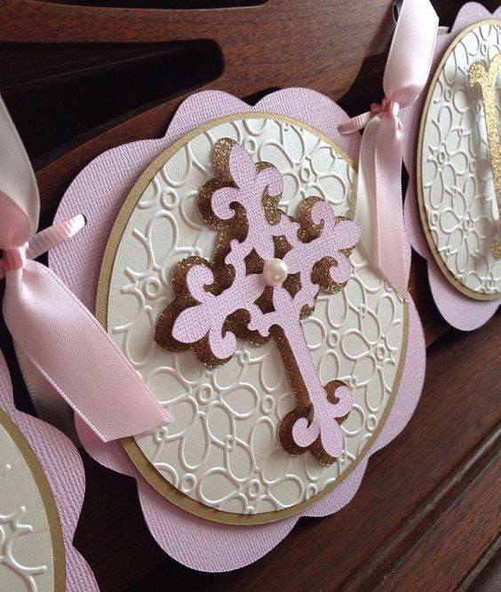 Pink Ivory and Gold Baptism Christening Banner by SweetMiranda