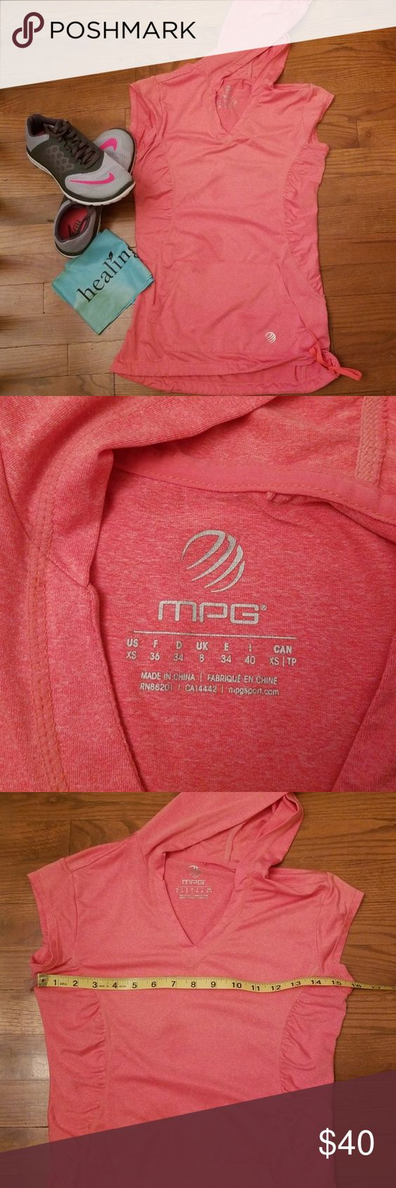 MPG Workout Vest Hoodie MPG Workout Vest Hoodie, Front Pocket, Drawstring Waist, Tangerine In Color, Excellent Used Condition MPG Tops Sweatshirts & Hoodies