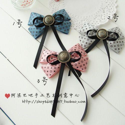 Ribbon & Buttons Bow Tie - Moños cintas y botones