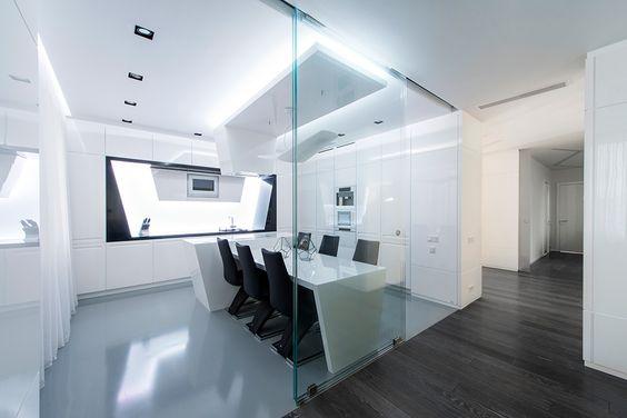 www.stainlesssteeltile.com likes the MODERN Geometrix white kitchen