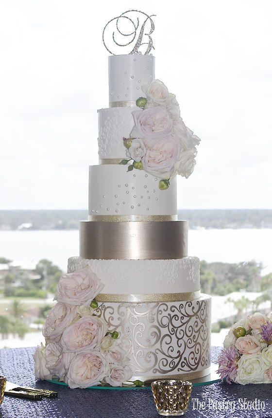 Elegant Modern 6 Tier Formal Wedding Cake In Ivory With Blush Florals And Gold Scrolling By The Past Wedding Cake Decorations Wedding Cakes Modern Wedding Cake
