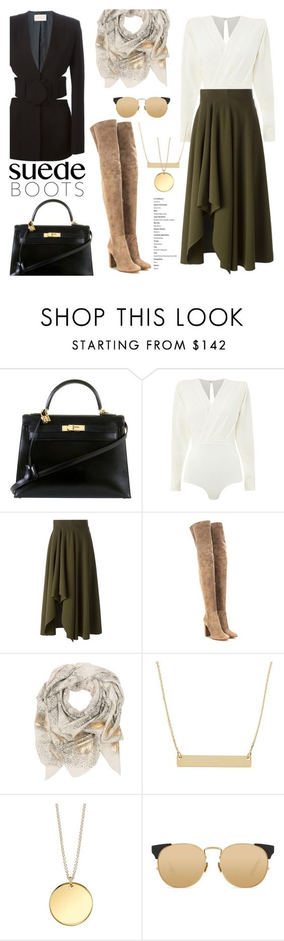 """""""Suede Boots"""" by stellaasteria ❤ liked on Polyvore featuring Hermès, Alexander McQueen, Gianvito Rossi, Sophie Darling, Linda Farrow and Christopher Kane"""