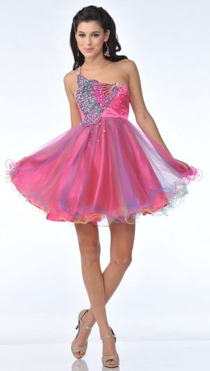 Zeilei 5871 One Shoulder Butterfly Sweet 16 Short Prom Dress: