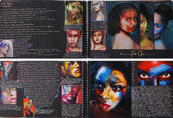 A Level photography sketchbook layout using black paper