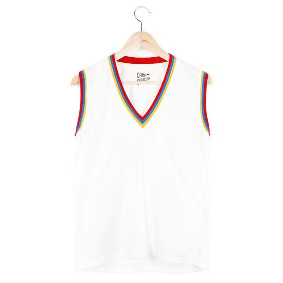 V-Neck Ringer Muscle Tee (view more colors) - Small / Vintage White/Stripe Trim - CAMP Collection - 1