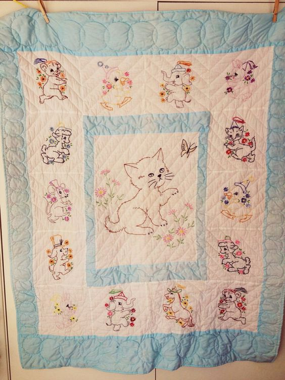 Vintage baby quilt embroidered cat