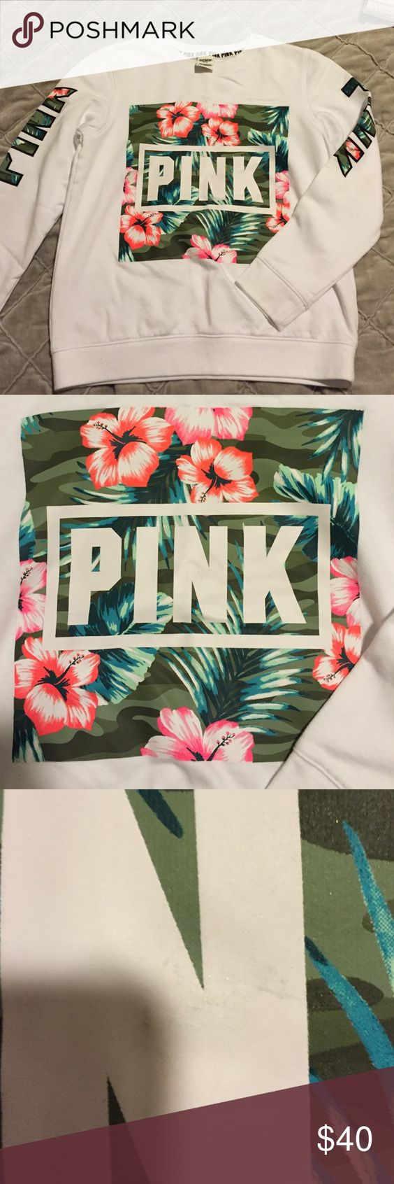 NWOT PINK Sweatshirt Never been worn. There is however a very small black mark on the N as shown in photo. PINK Victoria's Secret Tops Sweatshirts & Hoodies