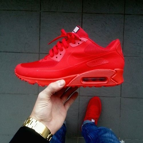 Nike Air Max 90 Hyperfuse Sneakers Red Dope Footwear  Trainers Trend Style