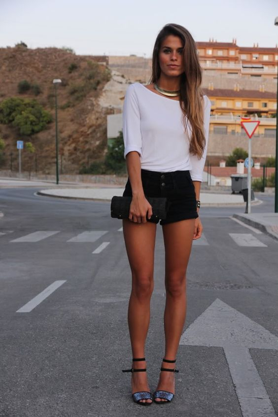 White Top Black Shorts Purse Shoes Summer Outfits Womens Fashion Clothes Style Apparel Clothing