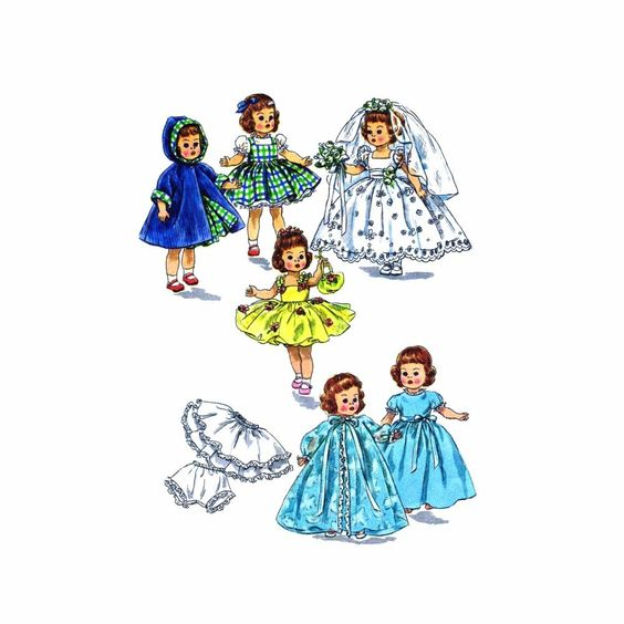 Simplicity 2294 Vintage Sewing Pattern Doll Clothes Alexander-Kins Ginny Muffie Littlest Angel Lil Susan