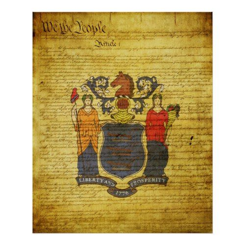 New Jersey State Flag Poster State Flags Jersey Poster Prints