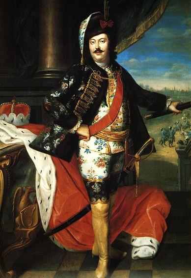 Hieronim Florian Radziwiłł, Jacob Wessel, 1746, MNW: wedding attire based on military prussian hussard dress, pendant for portrait of Magdalena Radziwiłłowa nee Czapska. Probably painted in Danzig.: