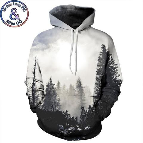 3D Print Mist Forest Tree Hoodies Mens Womens Sweatshirts Pullover Casual Coat