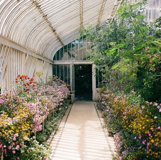 Pasar de un lado al otro del jardín a través del invernadero.