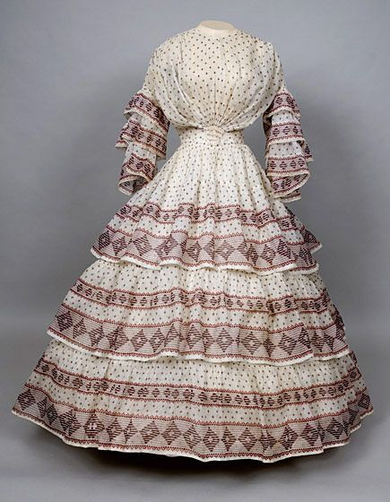 * Geometric Print Voile Day Dress, c. 1850