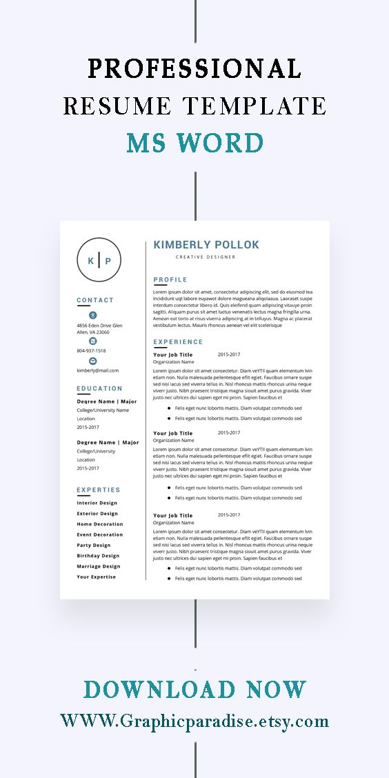 Resume Template Professional Resume Template Instant Etsy Resume Template Professional Teacher Resume Template Resume Template