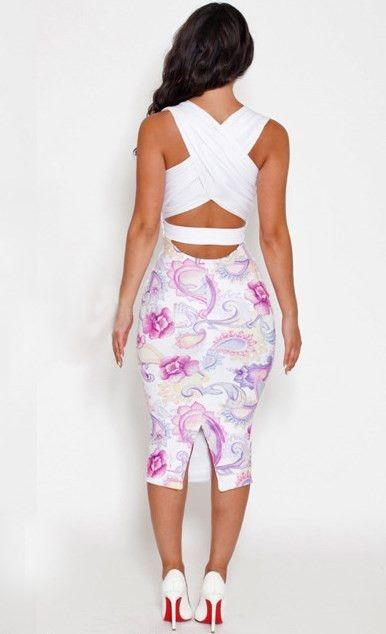 White Fashion V Neck Sleeveless Flowers Printed Bodycon Dress