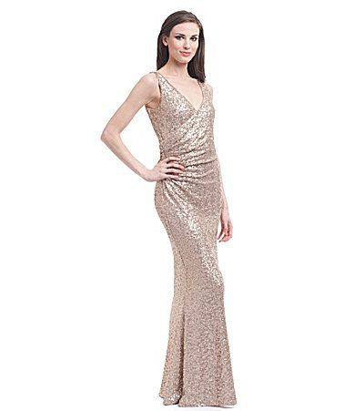 Belle Badgley Mischka Wrap-Front Sequined, Gold Bridesmaid Dress ...
