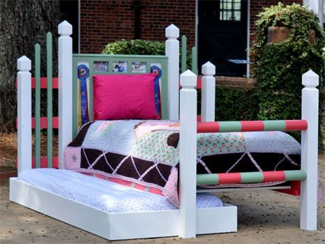 Horse jump themed bed? I'd have killed for this when I was a kid!! Maybe if our little girl follows in mommy's footsteps :-)