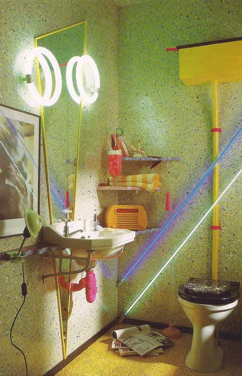 A Very 80s 1980s Bathroom Vintage Yesterday Pinterest Toilets Style And Neon