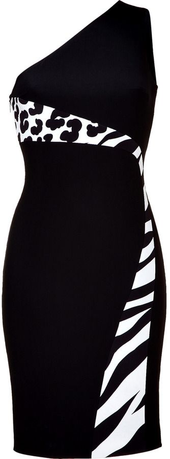 Versace Black/Ivory One Shoulder Dress on shopstyle.com