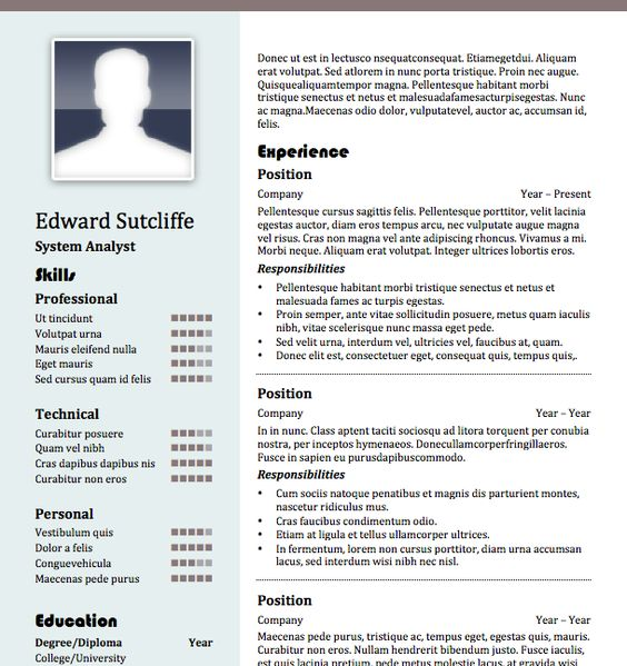 Free Resume Templates   Download Professional Ms Word Format     Pinterest