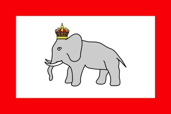 1600年に建国し1900年2月12日に滅亡したダホメ王国の国旗(現在のベナンにあったアフリカの王国)。 カワイイ