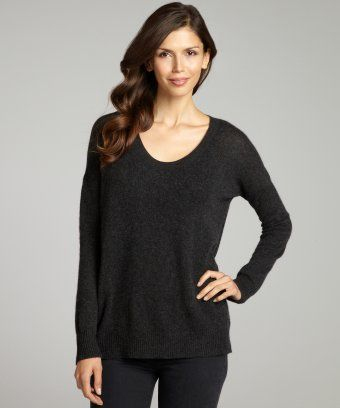 Wyatt : charcoal grey cashmere scoop neck sweater : style # 318997002