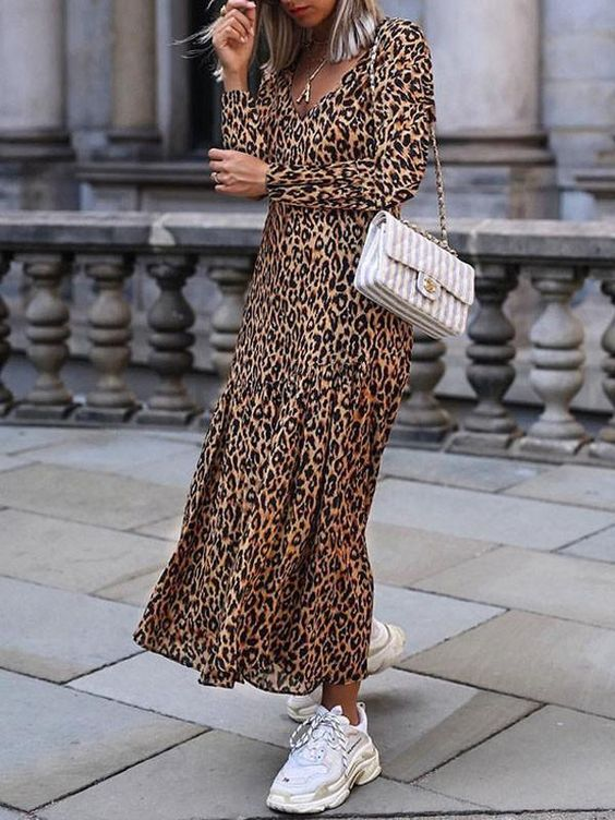 DaysCloth New Leopard Print Irregular V-neck Long Sleeve Beachwear Party Maxi Dress