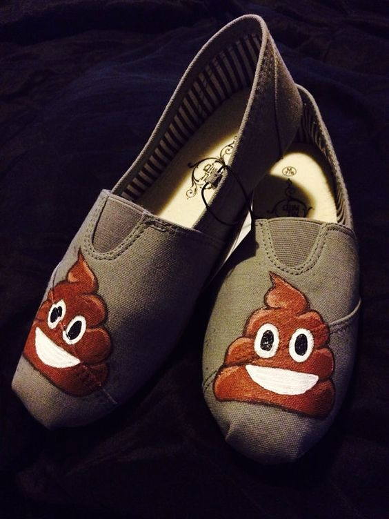 Funny Poop Emoji Custom Shoes TOMS Shoes Hand Painted Smiling Shit Toms Shoes