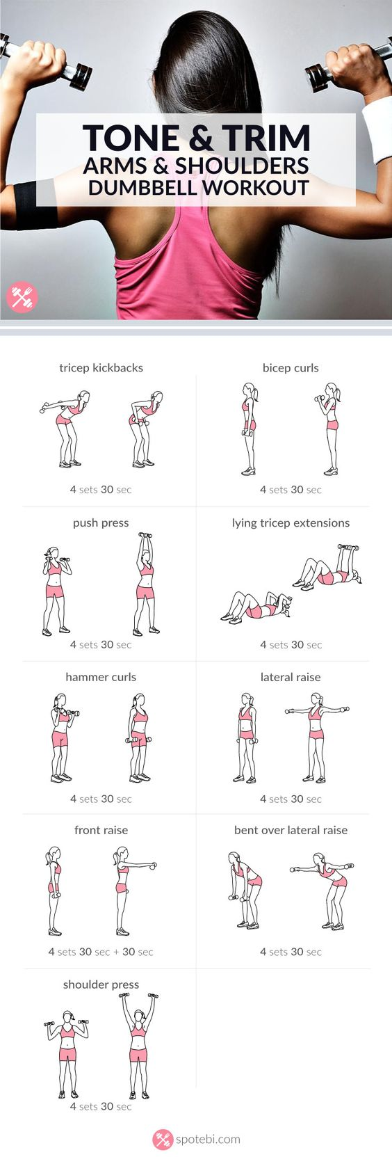 Arm & Shoulders Dumbbell Workout. Each exercises for 30 sec or complete 15-20 repetitions. Rest 30-60 sec, repeat circuit 4 times. Total of 20 mins: