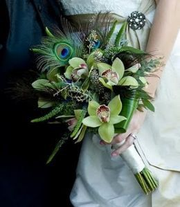 weddings peacock feather and orchid bouquet