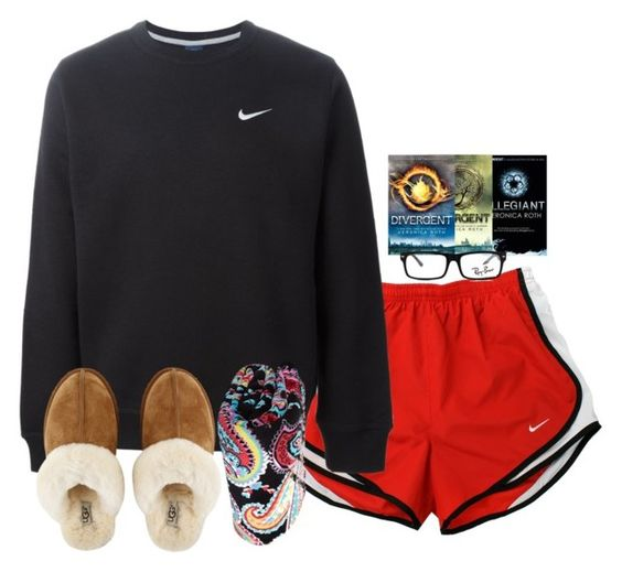 """Day 1- Chillin at Home"" by morgzz-07 ❤ liked on Polyvore featuring NIKE, Vera Bradley, UGG Australia, Trilogy, GlassesUSA, Ray-Ban and lindsaysummer2k16"