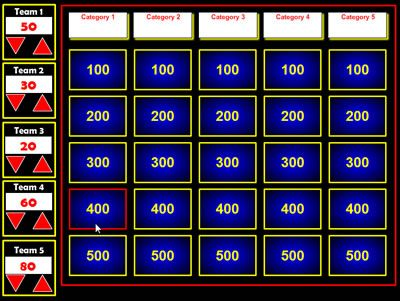 Jeopardy generator that can be used with SmartBoard or projected from a computer. I like how this one keeps the score on the side!