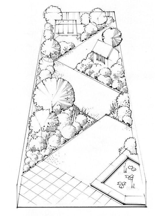 Landscaping a long thin yard pinterest gardens for Rectangular garden design