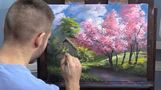 Pink Trees In Spring Paint With Kevin Youtube Resim Sanati