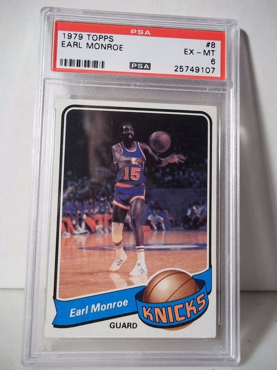 1979 Topps Earl Monroe PSA EX-MT 6 Basketball Card #8 NBA Collectible #NewYorkKnicks