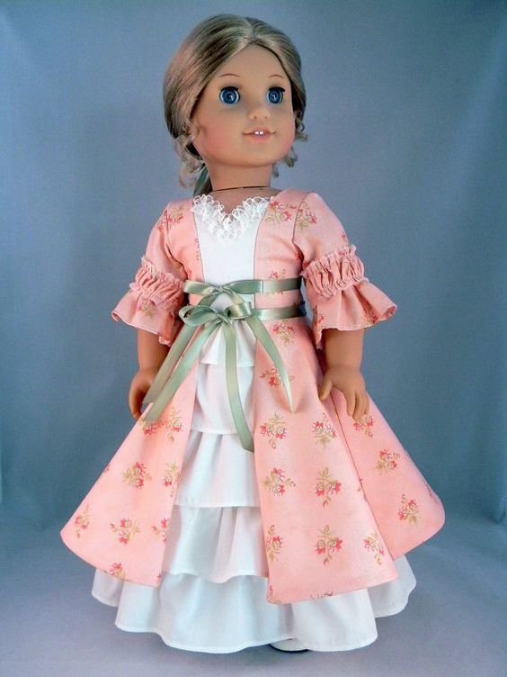 colonial style dress and petticoat for elizabeth felicity 18 american girl doll an original. Black Bedroom Furniture Sets. Home Design Ideas