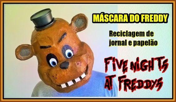 Máscara do Freddy, de Five Night at Freddy's. Assuste seus amigos. Ótima ideia para o Halloween. Toda feita com jornal, e pote reciclado. Assista o passo a passo acessando o link: https://youtu.be/lrvWuvrqEKQ