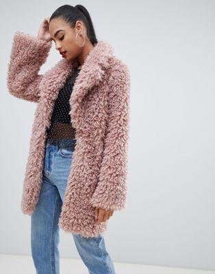 PrettyLittleThing - Cappotto oversize rosa effetto peluche
