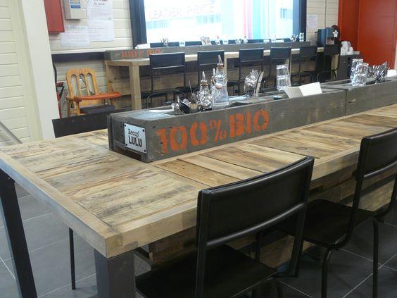 """table façon auberge """"espagnole"""" réalisée en palettes et bois de palox pour un restaurant Biosur Annecy, entièrement conçue, dessinée et réalisée by récup'LULU, fait à Cavaillon, France"""