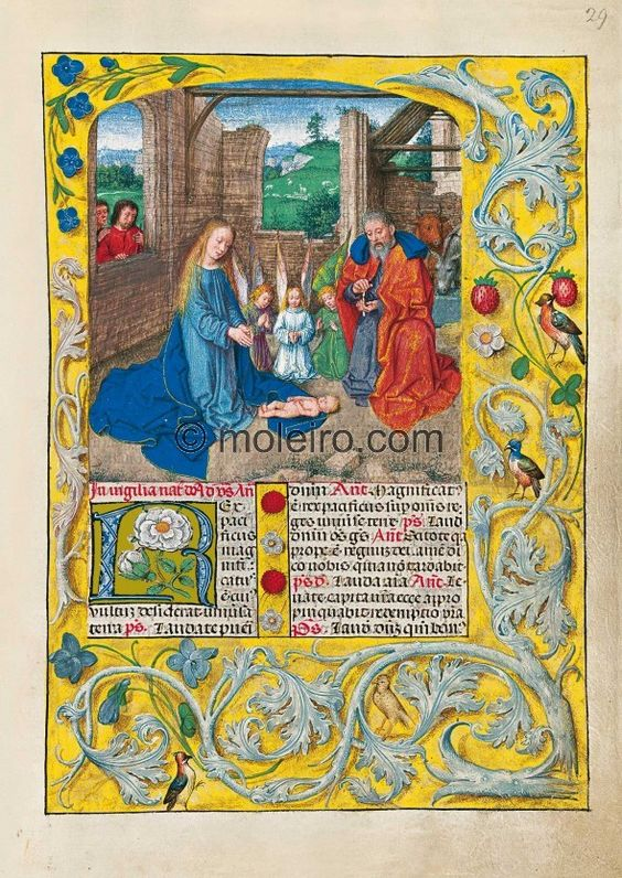 f. 28r, The Nativity Scene. This painting in the Temporale, the typical saints' section, and the painting of the Epiph...
