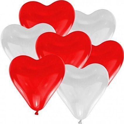 50 Herz Luftballons freie Farbwahl mit Helium Ballon Gas Hochzeit Valentinstag…