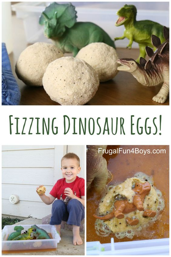 Fizzing Hatching Dinosaur Eggs: Sensory Play with Bath Bombs. Fun preschool activity for a dinosaur unit!  Or an outdoor play activity when the weather is warm.