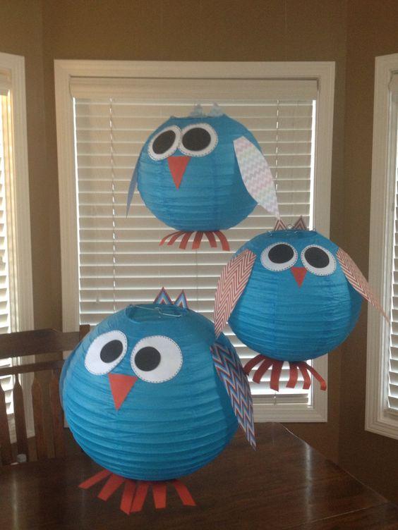 Classroom Owl Ideas ~ Owl lanterns for and chevron themed classroom