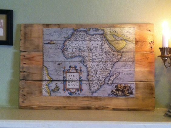 Vintage antique reproduction Africa map, decoupage on reclaimed wood. $29.95, via Etsy.
