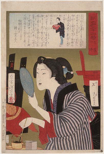Geisha blackening the teeth to 1 am, ukiyo-e of Tsukioka Yoshitoshi, number 13 of the series 24 hours Shinbashi and Yanagibashi.:
