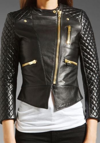 Black Friday Womens Black Soft Genuine Lambskin Leather Motorcycle ...