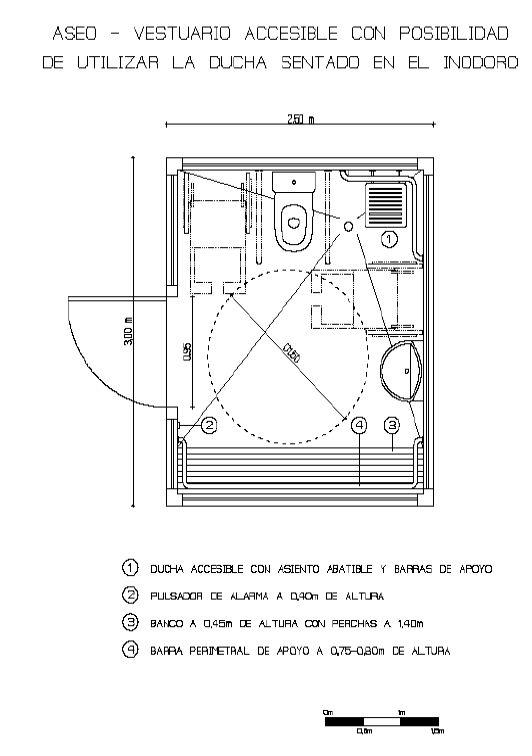 Modulos aseos vestuarios minusvalidos aim andalucia for Dimensiones cabina inodoro
