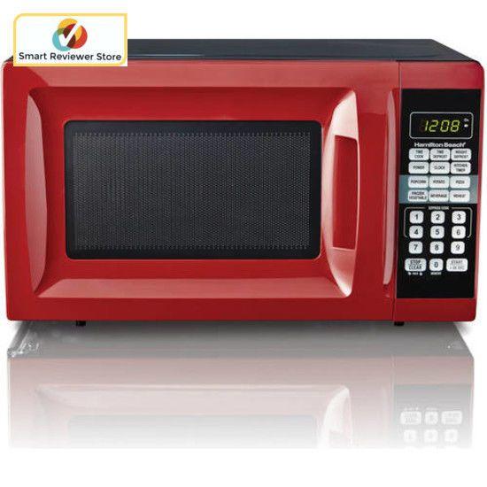 700 Watts Hamilton Beach 0 7 Cu Ft Microwave Oven Red Countertop Kitchen Digital Countertop Microwave 700 Watt Microwave Microwave Oven